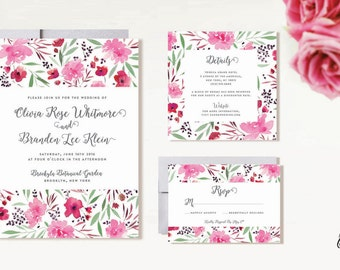 Printable Wedding Invitation Suite / Wedding Invite Set - The Pink Floral Suite