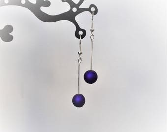 Eggplant Purple Pearl Earrings