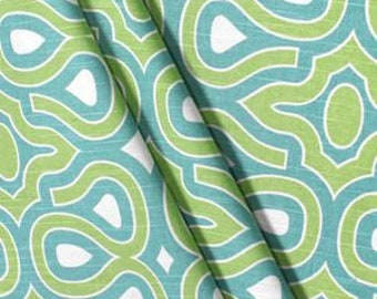 Curtains, Drapes, Draperies, Fully lined, Curtain panels, Pair of lined curtains, Turquoise, Green and white, Aqua, Aquamarine, Linen drapes