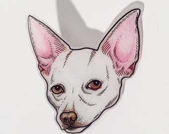 Custom Pet Portrait Pin or Magnet