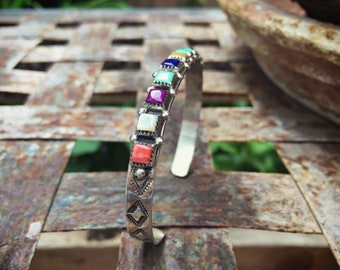 Multi Color Multi Stone Sterling Silver Cuff Bracelet, Old Pawn Native American Indian Jewelry, Navajo Jewelry, Birthday Gift for Self Women