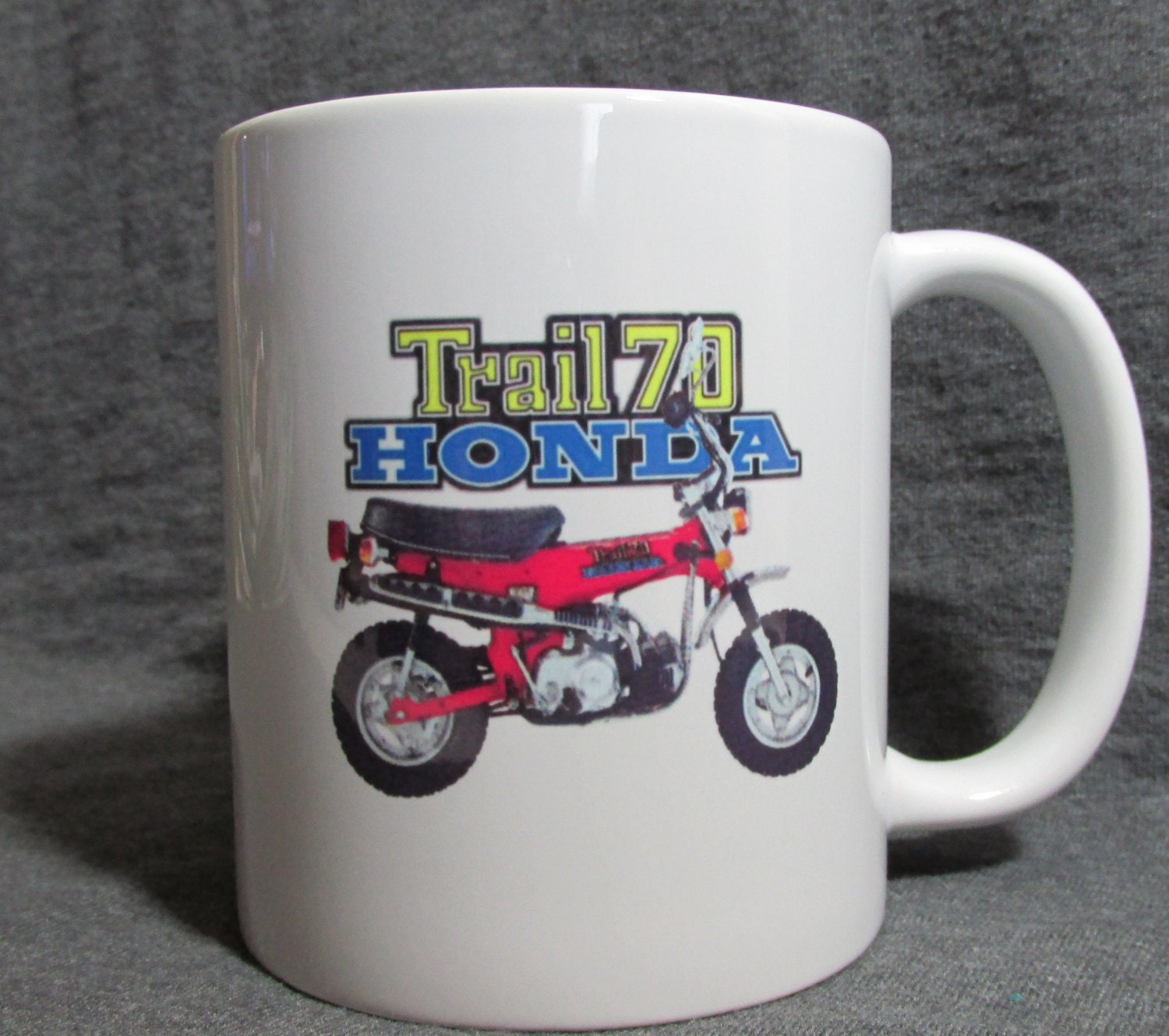 Red Honda Trail 70 11 Oz Coffee Cup Mug Sharp Vintage 1970 Mini Bike Zoom