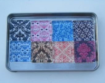 Damask Refrigerator Magnets, 8 Damask Fridge Magnets with Storage Tin