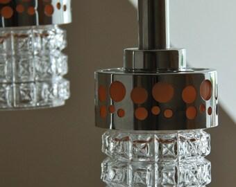 globe tube métal orange suspension lampe plafond space age  70s  chrome verre pois /spoutnik atomique / 3 disponibles / Holy10 Paris France