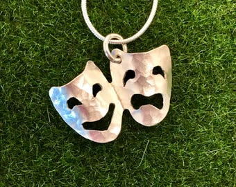 Drama Masks Necklace Theatrical Jewelry Sterling drama lover gifts theater item drama gifts