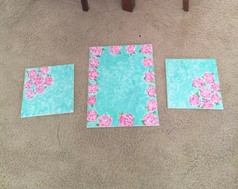 First Impressions Lilly Pulitzer inspired handmade canvas