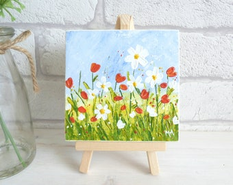Mini Art and Easel, Original Acrylic Texured Flowers Painting