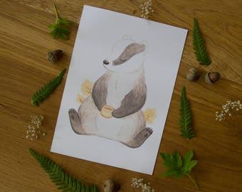Badger Tea Time - Art Print