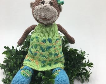 Knitted monkey doll