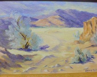Desert Oil Painting - Vintage Oil Painting - Desert Scene - Desert Verbena