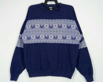 Rare!! MODIGLIANI sweatshirt nice design pull over jumper crew neck dark blue colour large size