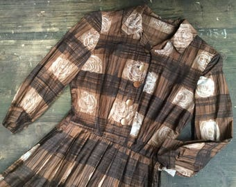 Late 1950s Floral Check Cotton Dress