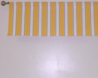 RTS, Lined valance, 42 x 16 inches, yellow white taupe lulu stripe cotton