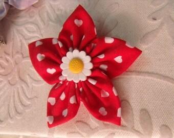 vintage red flower Barrette