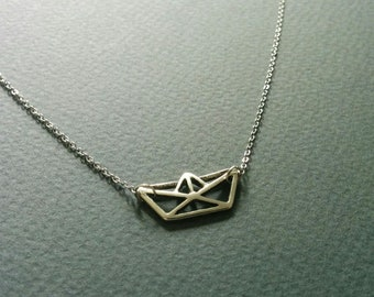 Origami paper boat. Dainty necklace. Free shipping.
