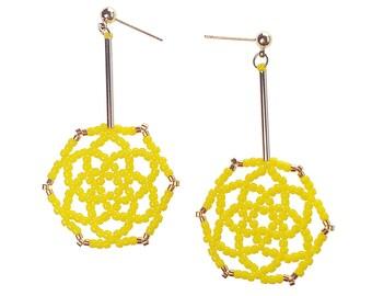 Yellow - Daisy Flower Drop Earrings