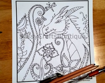 Adult Coloring Page Dragon - Zenangle Inspired
