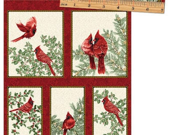 Festive Season Cardinal Fabric Panel by Benartex