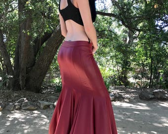 The Red Queen Faux (Vegan) Leather Mermaid Skirt by Opal Moon Designs (Sizes S-XL)