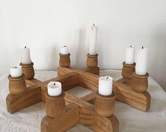 Vintage Mid Century Wood Candleholder,  Danish Modern Candlelabra, Square Wood Candle holder