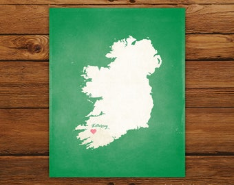 Customized Ireland 8 x 10 Country Art Print, Country Map, Heart, Silhouette, Aged-Look Print