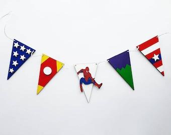 Superhero Wooden Marvel Bunting garland spiderman iron man captain America wonder woman Thor wolverine the incredible hulk kids bedroom