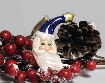 Ceramic Santa Crescent Moon Christmas Ornament - Dark Blue