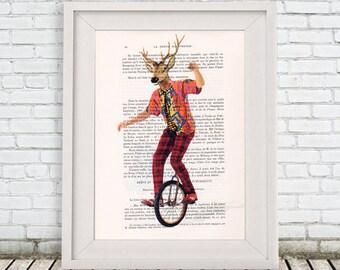 Circus Deer, deer print, circus print, deer illustration, deer poster, deer art, circus art, circus painting, Coco de Paris
