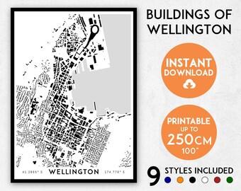 Wellington map print, Wellington print, Wellington city map, New Zealand map, Wellington poster, Wellington wall art, Map of Wellington