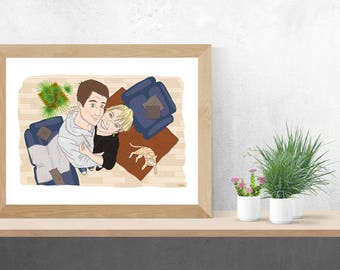 Portrait couple with decor, custom duo, illustration to offer for any occasion!