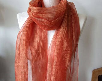 Luxurious and glamorous  long scarf in tangerine, metalic wrinkled organza shawl, tangerine & gold boho prom scarf, wedding scarf