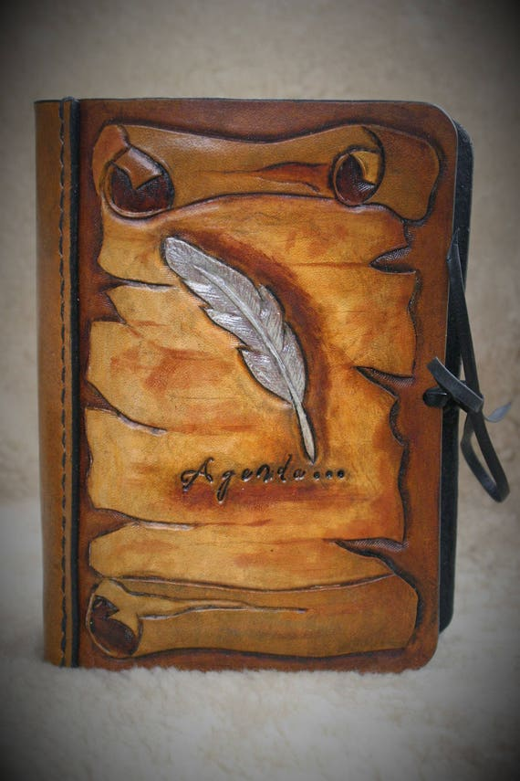 Mini planner, leather journal, agenda, ring binder, A7 size, parchment and feather