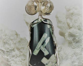 Chinese Writing Stone Wire Wrapped Cabochon Pendant Sterling Silver Wire Free Shipping