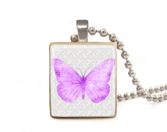 Purple Butterfly Necklace | Butterfly Pendant | Butterfly Charm | Butterfly Jewelry | Gift for Graduation | Mother's Day Necklace | Wood