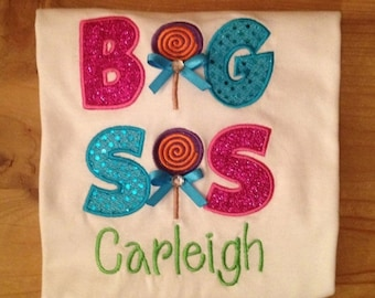 Big Sis Lollipop Candy Shop Embroidered Sibling Shirt or Baby Bodysuit