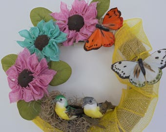 Burlap Sunflower Wreath for Bedroom, Burlap and Birds Wreath, Burlap and Butterflies Wreath