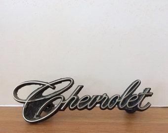 Vintage Chevrolet Vehicle Emblem Metal Chevrolet Badge Silver Chevrolet Emblem Script Chevrolet Emblem