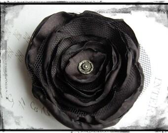 Unique handmade fabric flower Brooch Organza satin organza Steampunk scrunchy wedding gift