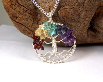 Family Tree necklace pendant with chain - Birthstone jewelry for Grandmother - Mothers day gift personalized - non tarnish silver wire tree