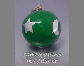 Harmony Ball Necklace with Green Chime Ball with 925 Sterling Silver Filigree Stars & Moon | Pregnancy Gift, Bola Necklace 470 + Bonus Chain