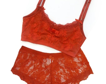 sheer lingerie - Sheer lingerie set in red lace - Valentine's gift - lace soft bra and panties - sheer crop top - soft bra