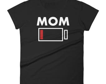 Mom Battery Charge Low Energy Drained Funny Graphic Style Women's short sleeve t-shirt