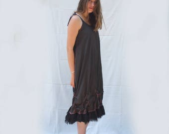 Tied Bubble Pleat Sun Dress / Silk / Wool - ruffled flouncy boho dress -  Slip on Summer Dress - made by Resplendent rags