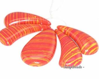 Matrix Turquoise Gemstone Orange Yellow Lotus Loose Beads Graduated Set 5 Beads (90114090-108)