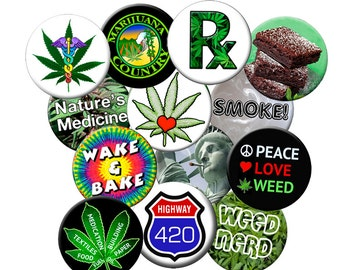 "CHOOSE A MAGNET - from this ""Baker's Dozen Pack #2"" of 2.25"" Large Fridge Magnets - 13 Cannabis Pot 420 Weed Related Marijuana Theme Designs"