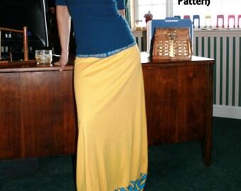 Ladies Maxi Skirt Pattern Instant Download PDF Sewing Pattern Stretch Knit Skirt