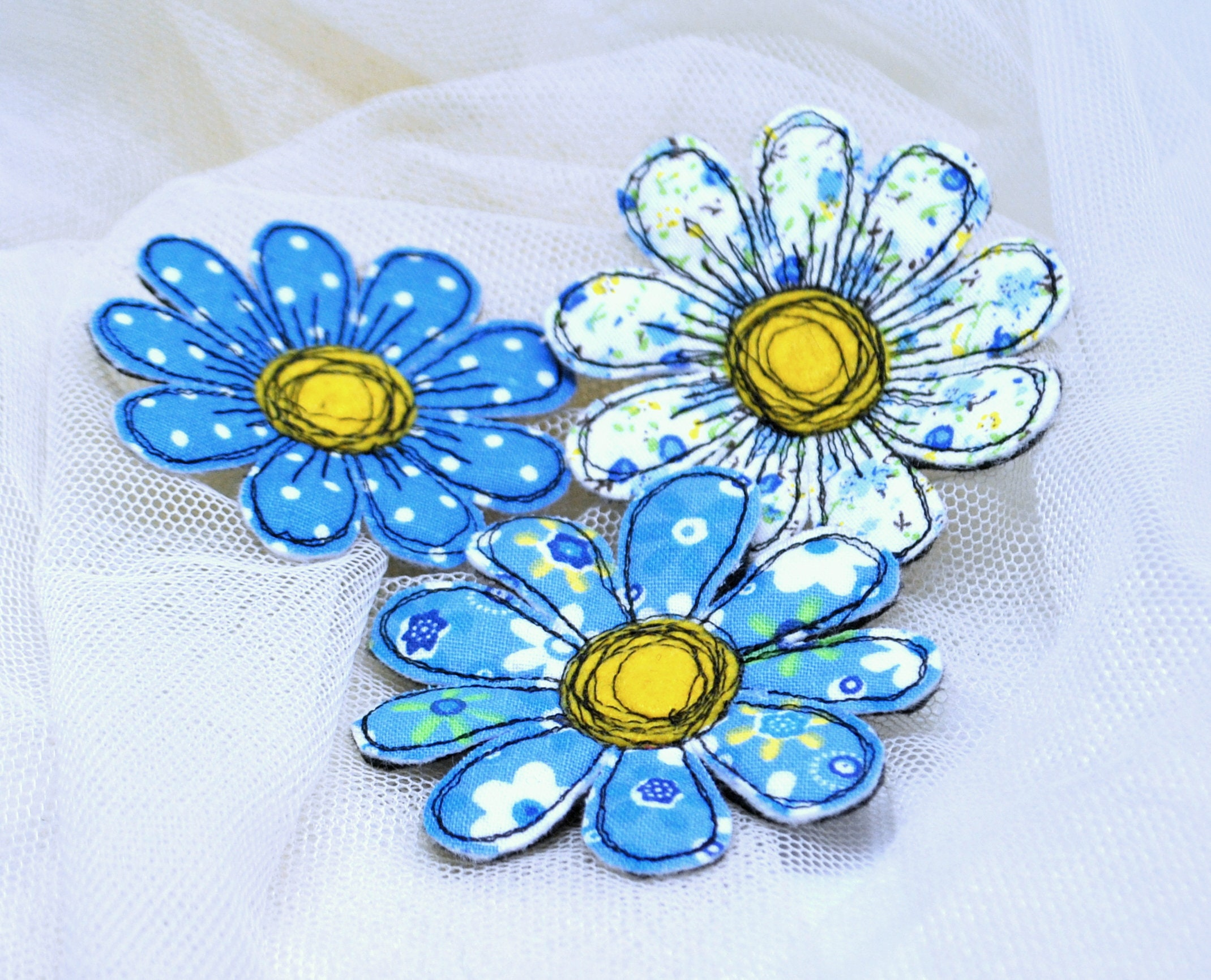 Flowers calico Fabric daisy brooch Set 3in1 Textile art single