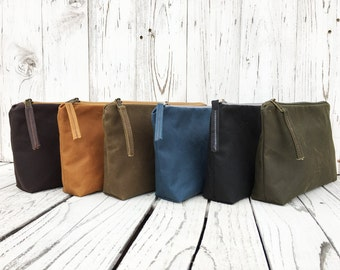 Vegan Waxed Canvas Toiletry Bag, Zipper Minimalist Travel Bag, Large Make Up Case, Cosmetic Storage, Unisex Coin Purse, Water Repellent Bag