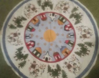 Snowmen Family Winter Village Tree Skirt 32 inches, President cut Ready to Sew