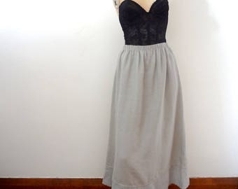 Vintage FLAX A-line Linen Skirt - dove grey casual midi skirt